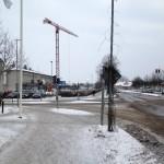 Här skall det byggas för höghuset (Stationsgatan i ostlig riktning) Foto: Kjell Gustafson